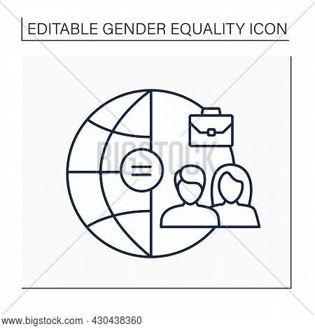 Employment Line Icon. Equal Rights For Choosing Career And Applying For Job. Non-discrimination.gend