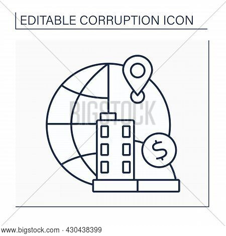 Offshore Financial Center Line Icon.international Financial System.legislation Of Countries Exempted
