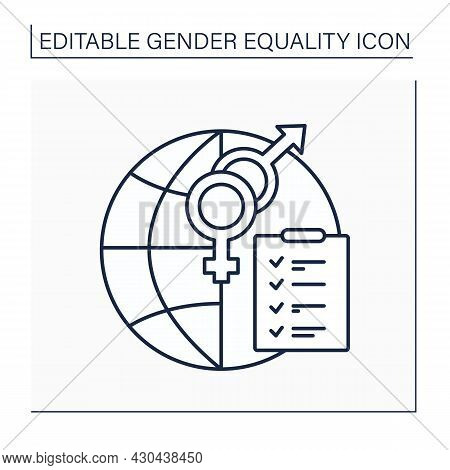 Mainstreaming Line Icon.strategy To Achieve Equality Between Women And Men.takes Into Account Both G
