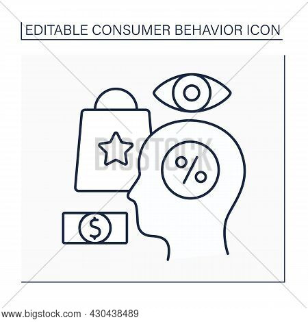 Consumer Behavior Line Icon. Studying Behavior Before Making Purchase. People Buy And Use Goods, Ser