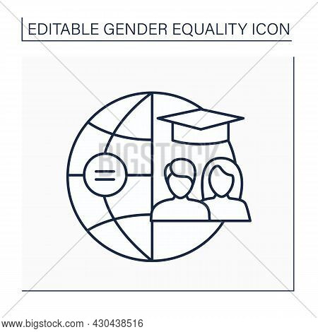 Education Line Icon. Equal Rights In Education System For Men And Women. Right Basis Of Non-discrimi