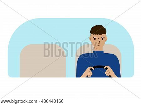 Vector Illustration Of A Man Driver Driving. Looks Through The Windshield