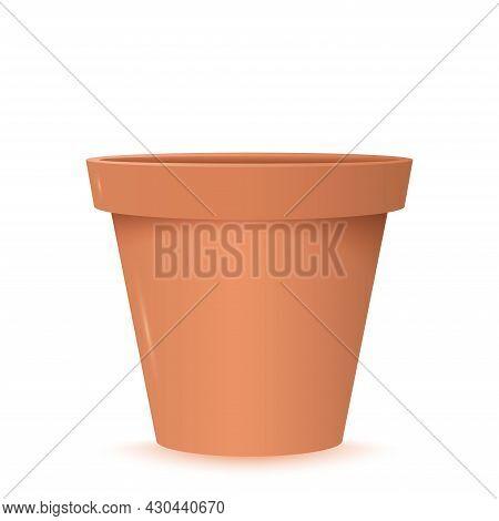 Realistic Empty Ceramic Flower Pot. Brown Pot Without Flowers. Gardening Equipment. Crockery Assortm