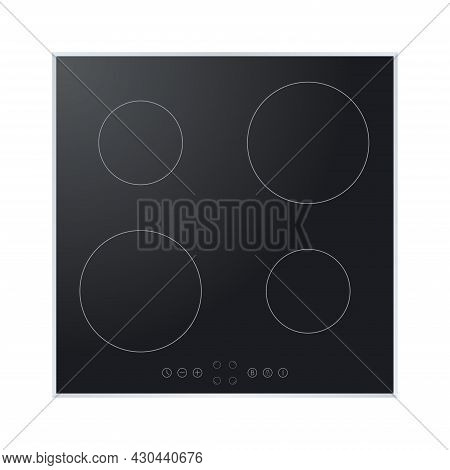 Electric Stove Induction Cooktop With Four Power Boost Burners. Domestic Equipment. Realistic Smooth