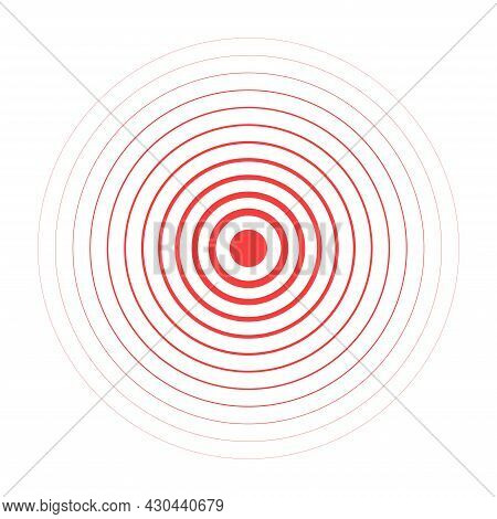 Red Pain Circle. Concentration Pain Area. Medicine For Painful Spot. Inflammatory Point. Aching Plac