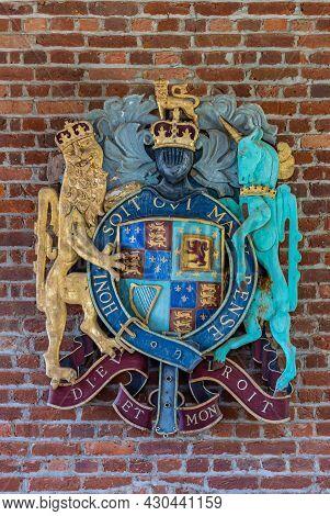 Jamestowne, Va, Usa - April 1, 2013: Historic Site. Closeup Of Colorful English Royal Coat Of Arms A