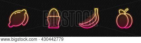 Set Line Banana, Lemon, Chicken Egg Stand And Plum Fruit. Glowing Neon Icon. Vector