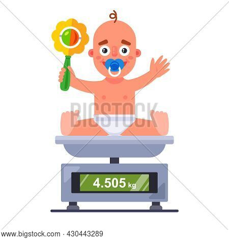 Weighing A Small Child On A Scale In A Hospital. Flat Vector Character Illustration.