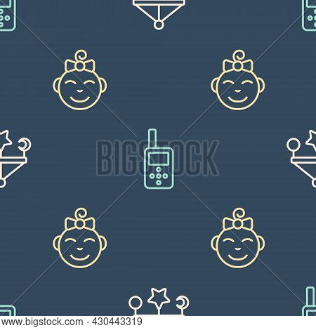 Set Line Baby Crib Hanging Toys, Little Girl Head And Monitor Walkie Talkie On Seamless Pattern. Vec