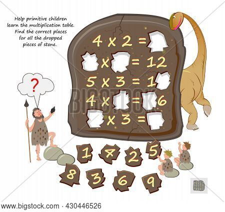 Help Primitive Children Learn The Multiplication Table. Find The Correct Places For All The Dropped