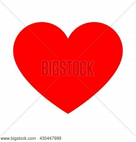 Red Heart Shape Icon, Vector Heart Shape, Lovers For Valentine's Day. Symbol Of Love, Loyalty And De