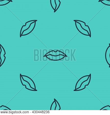 Black Line Smiling Lips Icon Isolated Seamless Pattern On Green Background. Smile Symbol. Vector
