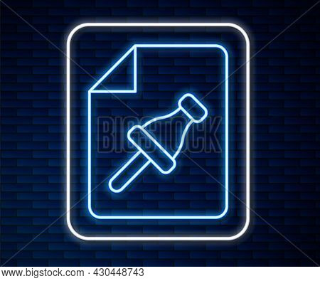 Glowing Neon Line Note Paper With Pinned Pushbutton Icon Isolated On Brick Wall Background. Memo Pap