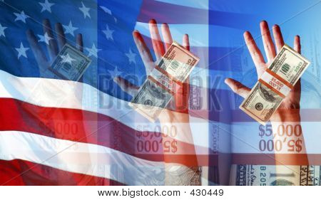 Hands Holding Money And The American Flag - Symbols And Concepts