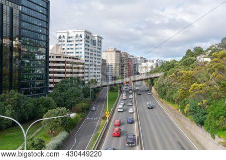 Wellington New Zealand - July 30 2021; Slow Progress For Cars Entering Wellington City Along State H