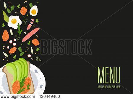 Banner With The Words Menu And Breakfast Ingredients On The Side. Breakfast Menu Design. Vector Illu