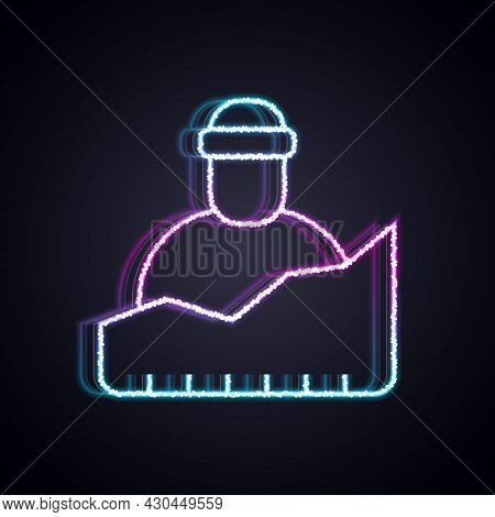 Glowing Neon Line Growth Of Homeless Icon Isolated On Black Background. Homelessness Problem. Vector