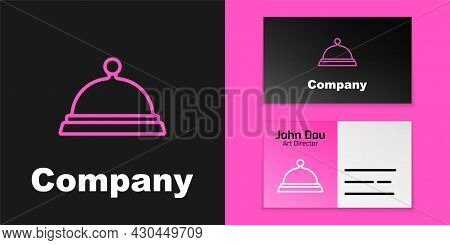 Pink Line Covered With A Tray Of Food Icon Isolated On Black Background. Tray And Lid Sign. Restaura