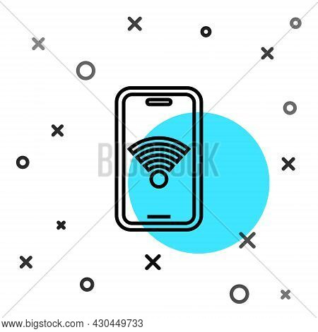 Black Line Smartphone With Free Wi-fi Wireless Connection Icon Isolated On White Background. Wireles