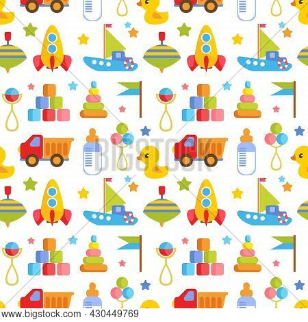 Seamless Pattern With Children S Toys On A White Background. Truck, Car, Cubes, Boat, Duck. Children