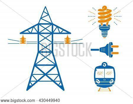 High Voltage Power Line Transmission Tower Or Pylon, Energy Saving Light Bulb Or Lamp, Ac Plug, Subw