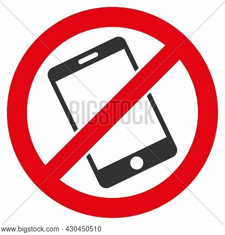 Forbid Smartphone Icon With Flat Style. Isolated Vector Forbid Smartphone Icon Image On A White Back