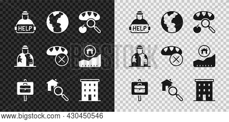 Set Help Homeless, Global Economic Crisis, Searching For Food, Work Search, House, Multi Storey Buil