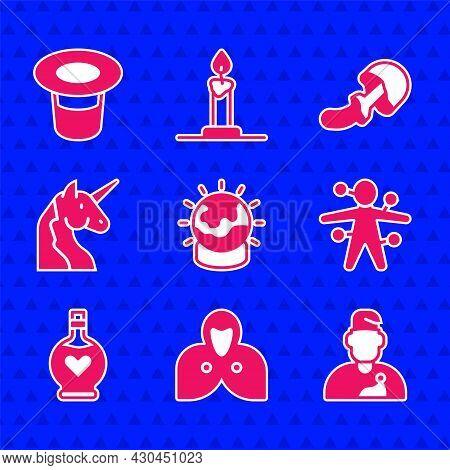 Set Magic Ball, Mantle, Cloak, Cape, Wizard Warlock, Voodoo Doll, Bottle With Love Potion, Unicorn,