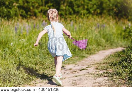 Little Girl Is Runnig On Forest Path To Catch Butterfly With Net