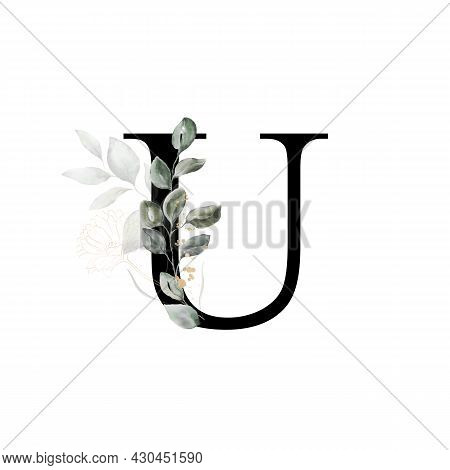Capital Letter U Decorated With Golden Flower And Leaves. Letter Of The English Alphabet With Floral