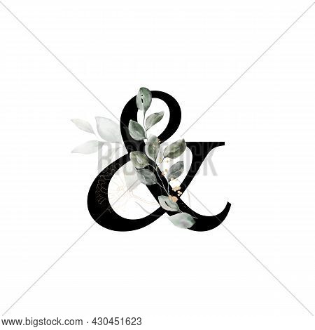Capital Letter & Decorated With Golden Flower And Leaves. Letter Of The English Alphabet With Floral