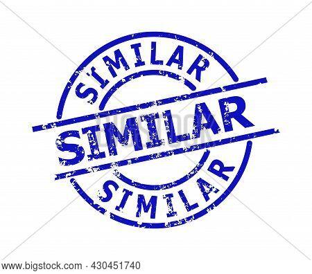 Blue Similar Round Seal Stamp. Similar Title Is Inside Round Shape. Rough Similar Seal In Blue Color