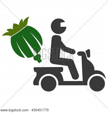 Opium Motorbike Delivery Icon With Flat Style. Isolated Raster Opium Motorbike Delivery Pictogram On