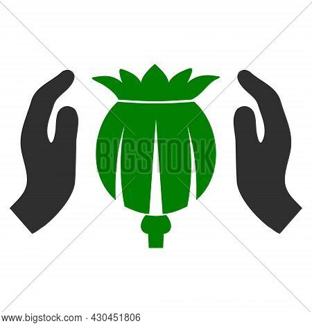 Poppy Care Hands Icon With Flat Style. Isolated Raster Poppy Care Hands Icon Image On A White Backgr