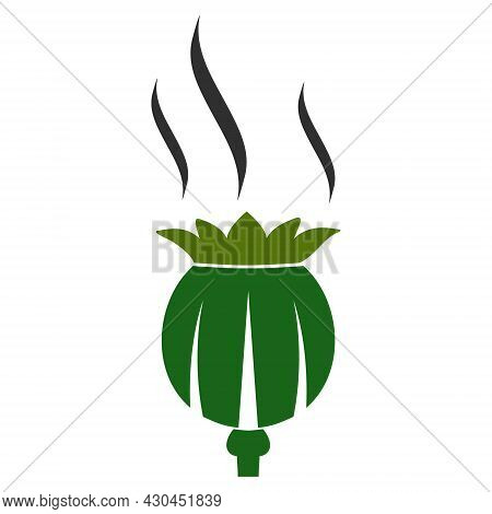 Opium Aroma Icon With Flat Style. Isolated Raster Opium Aroma Icon Image On A White Background.
