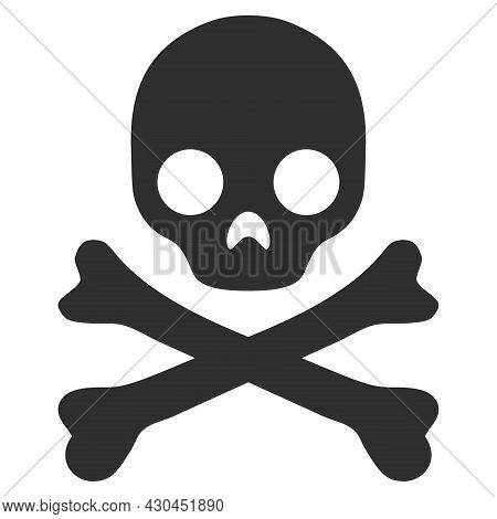 Death Skull Icon With Flat Style. Isolated Raster Death Skull Icon Image On A White Background.