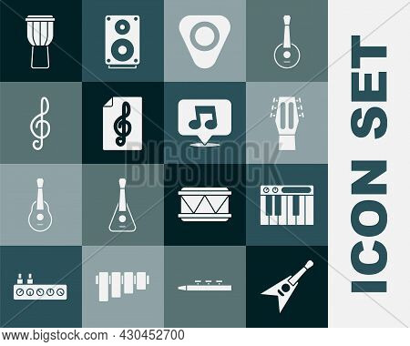 Set Electric Bass Guitar, Music Synthesizer, Guitar, Pick, Treble Clef, Drum And Note, Tone Icon. Ve