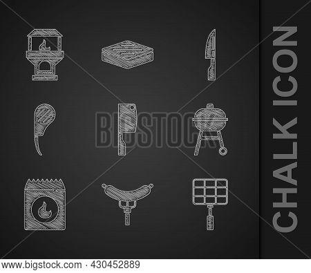 Set Meat Chopper, Sausage On The Fork, Barbecue Steel Grid, Grill, Coal Bag, Rib Eye Steak, Knife An