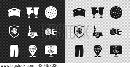 Set Sun Visor Cap, Binoculars, Golf Ball, Pants, Location Golf Sport Club, Label, With Shield And Ic