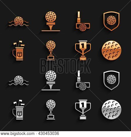 Set Award Cup With Golf, Golf Ball Shield, Bag Clubs, In Water And On Tee Icon. Vector