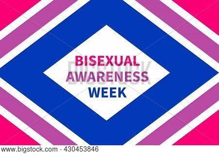 Bisexual Awareness Week Typography Poster. Lgbt Community Event Celebrate On September. Vector Templ