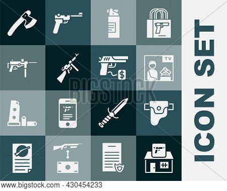 Set Hunting Shop Weapon, Gun Holster, Advertising, Weapons Oil Bottle, Tommy Gun, Submachine M3, Woo
