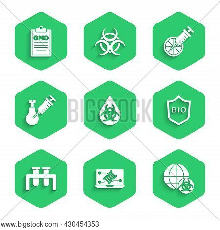 Set Gmo, Genetic Engineering Modification, Shield For Bio Healthy Food, Test Tube And Flask, Gmo Res