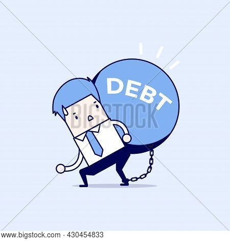 Businessman Carry Debt Burden. Cartoon Character Thin Line Style Vector.
