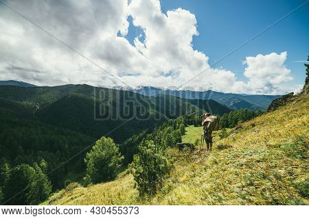 Green Mountain Landscape With Backpacker On Sunlit Grassy Mountainside With View To Forest Valley An