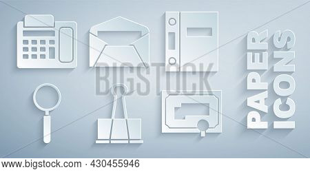 Set Binder Clip, Office Folders, Magnifying Glass, Certificate Template, Envelope And Telephone Icon