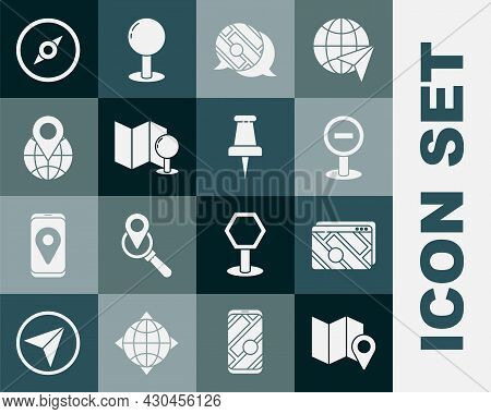Set Folded Map With Location Marker, Infographic Of City Navigation, Stop Sign, Push Pin, Location T