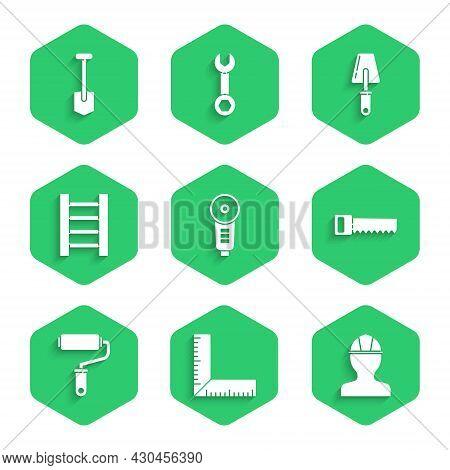 Set Angle Grinder, Corner Ruler, Worker Safety Helmet, Hand Saw, Paint Roller Brush, Wooden Staircas
