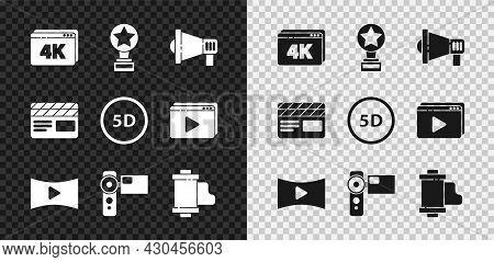 Set Online Play Video With 4k, Movie Trophy, Megaphone, Cinema Camera, Camera Vintage Film Roll Cart