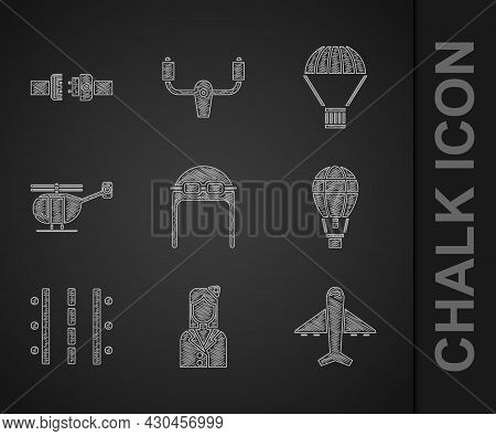 Set Aviator Hat With Goggles, Stewardess, Plane, Hot Air Balloon, Airport Runway, Helicopter, Box Fl